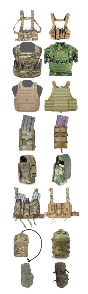 side by side comparisons of warrior and other gear brands equipment, showing the similarities of the two