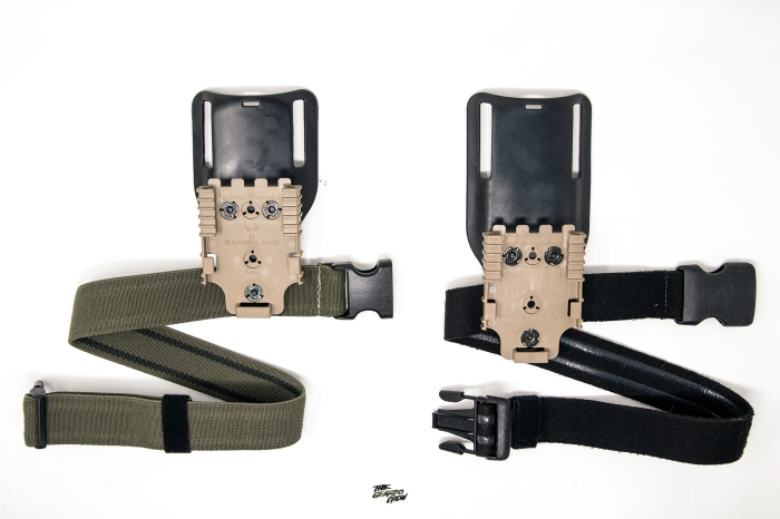 T.Rex arms thigh strap side by side with low ride safariland strap